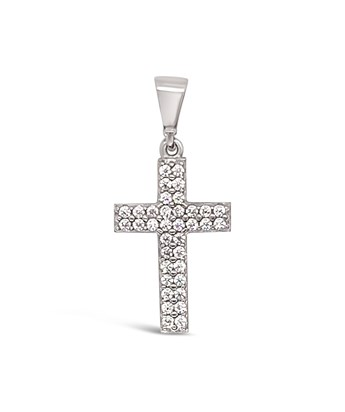 TINY CRYSTAL CROSS privjesak bijelo zlato